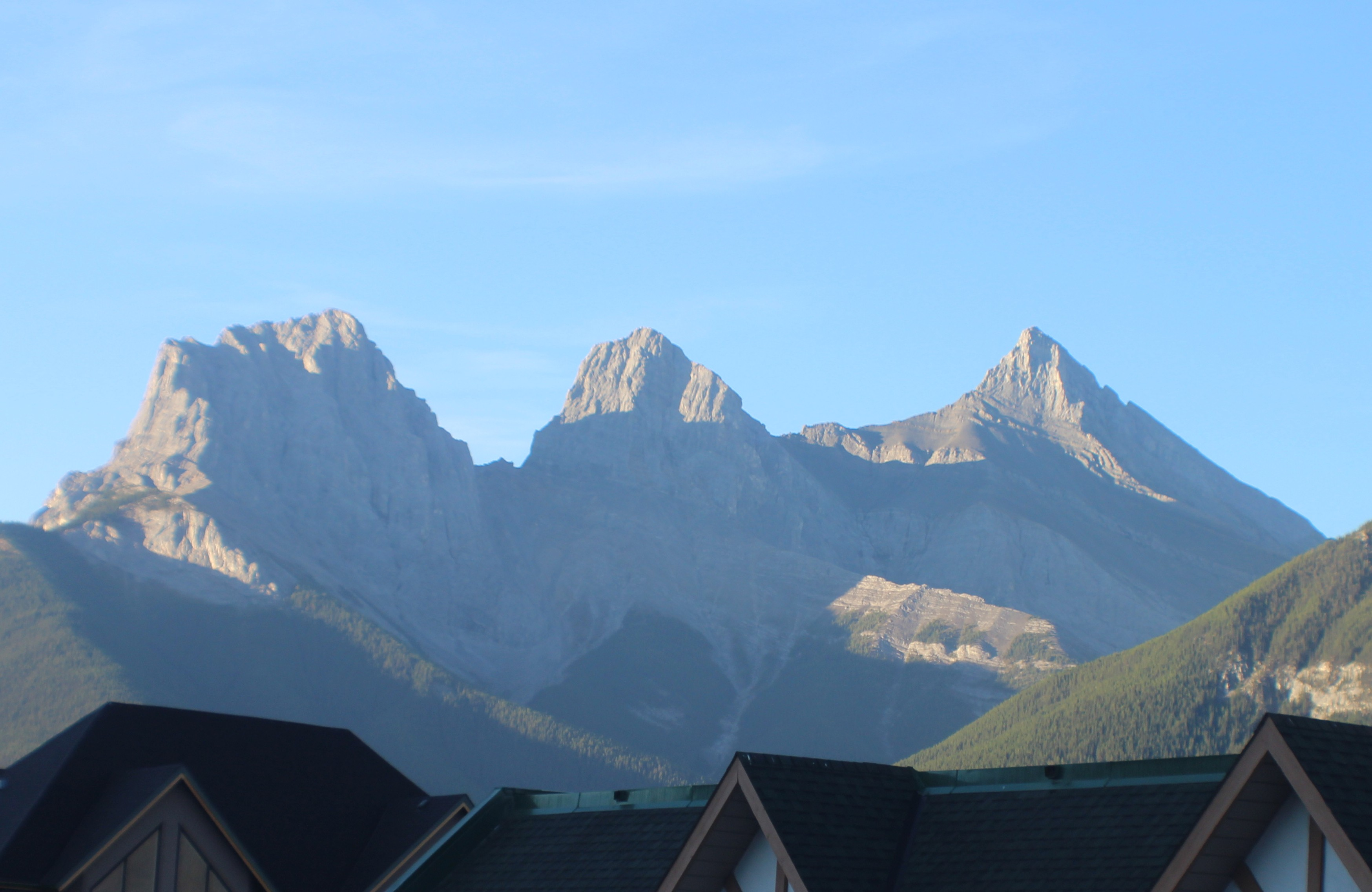 The view from our hotel room of the Three Sisters