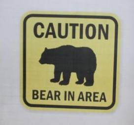 Bear in area sign.